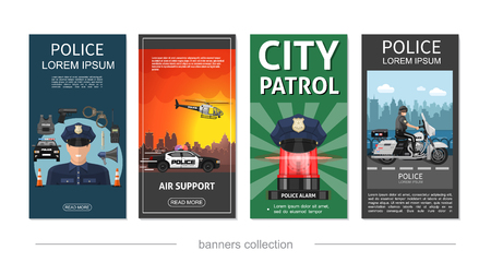 Flat police posters with policeman riding motorcycle police officer emergency siren helicopter car helmet gun handcuffs loudspeaker vector illustration