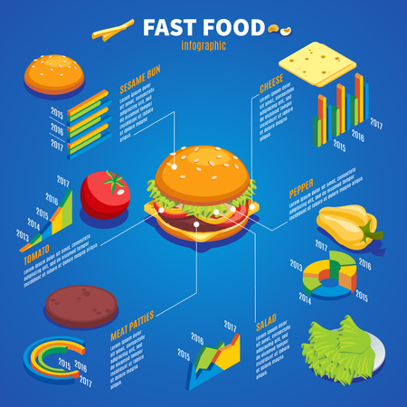 Isometric fast food infographic template with bun cheese pepper tomato meat salad ingredients for hamburger making isolated vector illustration