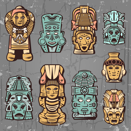 Vintage colored aztec masks set with tribal ceremonial inca totems and idols isolated vector illustration