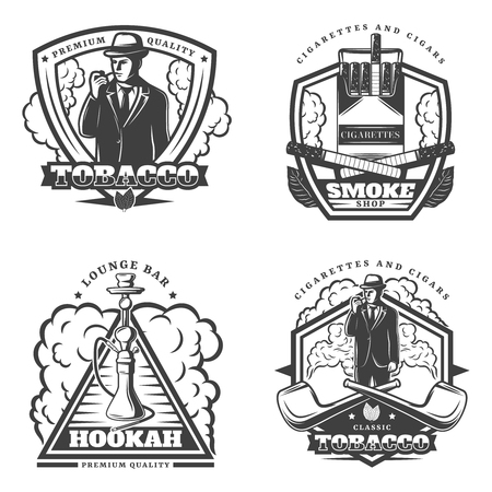 Vintage monochrome smoke emblems set with inscriptions smoker crossed cigarettes pipes hookah isolated vector illustration