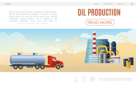 Flat oil industry web page template with tank truck petrochemical plant barrels drilling rigs silhouettes vector illustration