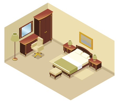 Isometric hotel room interior concept with bed nightstand mirror cabinet chair commode lamps carpet picture isolated vector illustration