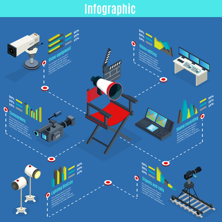 Isometric TV and cinema devices infographics with cameras clapper megaphone camcorder lighting video editing and sound recording equipment isolated vector illustration Ilustração