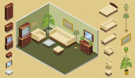 Isometric hotel room creation concept with bed chairs cabinets mirror tables lamps plants picture nightstand isolated vector illustration Illustration