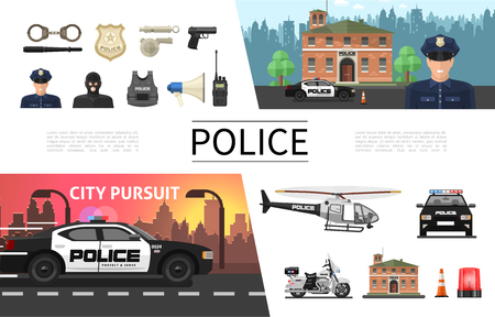 Flat police elements concept with policeman criminal sheriff badge gun helmet loudspeaker handcuffs helicopter car motorcycle siren radio set vector illustration