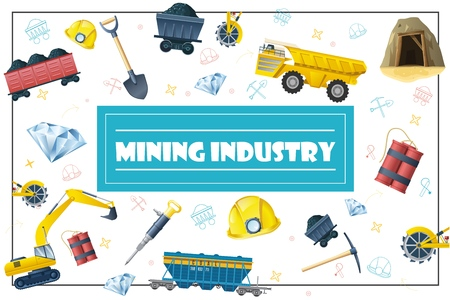 Flat coal production elements concept with shovel pickaxe dynamite helmet crystal wagon drill dump truck excavator mine bucket wheel in frame vector illustration Illustration