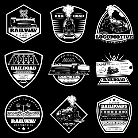 Vintage white locomotive train labels set with railroad wagons ticket traffic light on black background isolated vector illustration