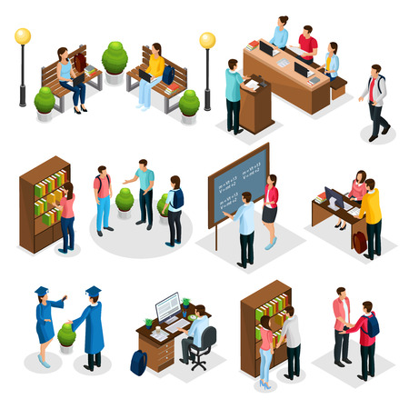 Isometric students in university set with graduates people learning reading taking examination visiting library lecture doing homework isolated vector illustration Vettoriali