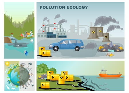 Flat environment pollution composition with factory industrial waste water contamination clean and dirty planet vector illustration