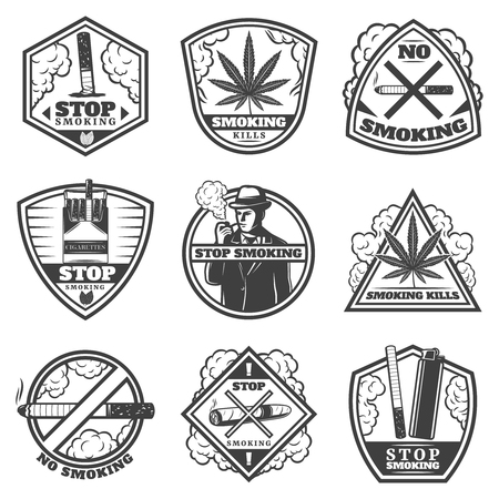 Vintage stop smoke labels set with gentleman cigarettes hookah pipes matches lighter cigar tobacco leaves isolated vector illustration