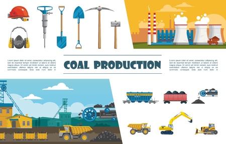 Flat mining industry elements set with helmet drill pickaxe shovel helmet wagon of coal conveyor with coal truck bulldozer excavator industrial plant vector illustration Illustration