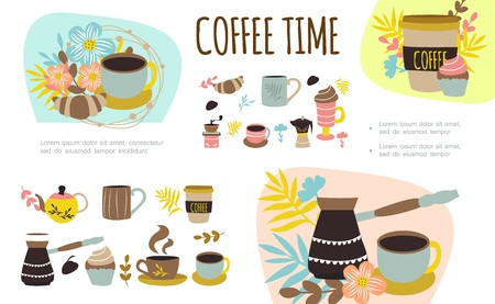 Flat coffee time colorful composition with cups mugs of hot drink turk coffee bean cake croissant flowers branches vector illustration Illustration