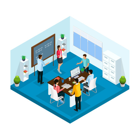 Isometric learning process in university template with students studying and brainstorming in classroom isolated vector illustration