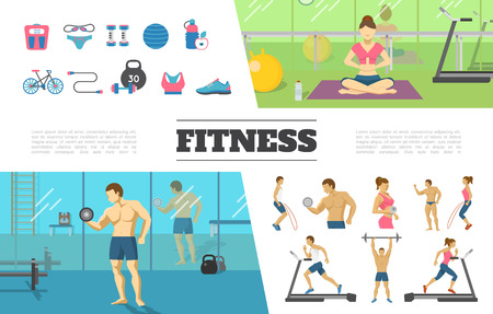 Flat fitness elements collection with man and woman doing physical exercises in gym scale sportswear ball dumbbells bottle bicycle weight vector illustration