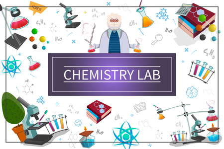 Flat chemistry laboratory concept with scientist test flasks tubes books microscope atom molecule chemical formulas in frame vector illustration