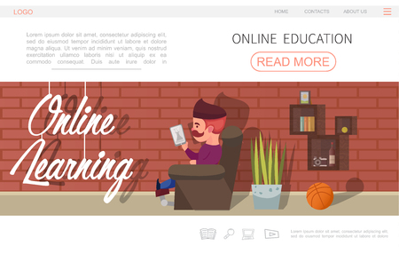 Flat online education website concept with man reading e-book at home plant basketball ball and shelves vector illustration