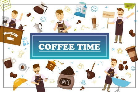 Flat coffee time colorful concept with barista in different poses milk beans cups croissant coffee grinder turk machines in frame vector illustration Illustration