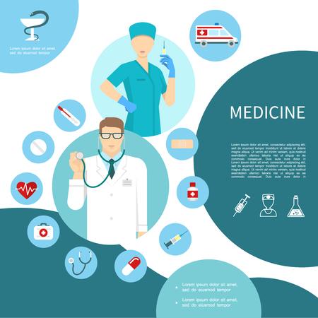 Flat medicine composition with doctor nurse ambulance car thermometer pill drug heart medical kit stethoscope syringe bottle plaster vector illustration