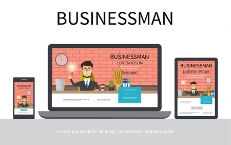Flat businessman adaptive design concept with business man working at table in office on mobile laptop and tablet screens isolated vector illustration Reklamní fotografie - 104702968