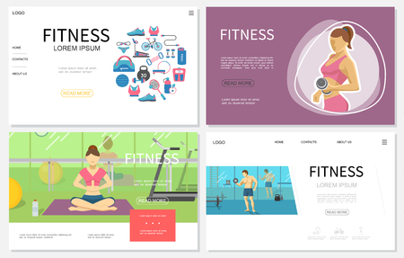 Flat fitness websites set with woman lifting dumbbell and meditating in yoga pose man exercising in gym sportswear sport equipment vector illustration