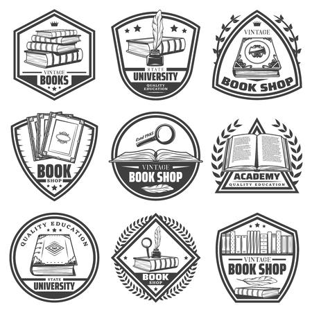 Vintage monochrome Buchhandlung Etiketten mit Inschriften Bücher Federn Bücherregal Lupen Tintenfass isoliert Vektor-Illustration gesetzt