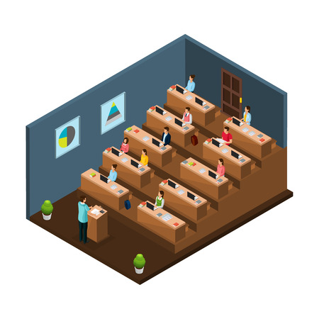 Isometric university education concept with professor giving lecture to students in auditorium isolated vector illustration