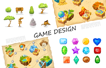 Cartoon game elements collection with trees signboards stones bush treasure chests volcano nature islands skull level design weapon colorful gemstones vector illustration