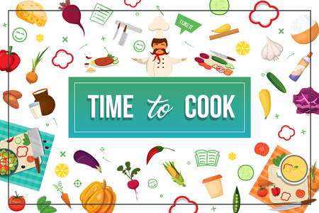 Flat eco food colorful concept with chef vegetables knives dairy products meat cheese lemon in frame vector illustration 일러스트