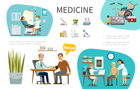 Flat medical treatment concept with patients visiting different doctors wheelchair crutches thermometer pills bottles stethoscope syringe vector illustration Stock Illustratie