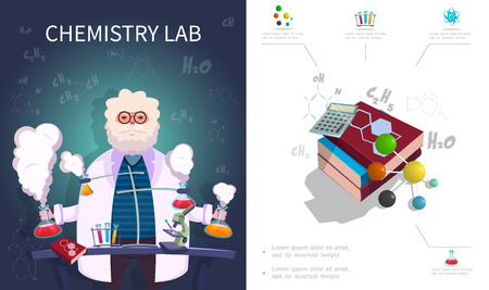 Flat chemistry laboratory composition with scientist doing lab experiment chemical formulas books calculator atom and molecule structure vector illustration Ilustracja