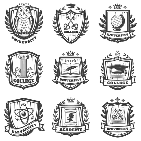 Vintage educational coat of arms set with university college and academy elements isolated vector illustration Banque d'images - 104603639