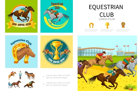 Cartoon equestrian sport infographic concept with jumping running and training horses with jockeys horseshoe cup medal vector illustration