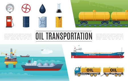 Flat oil industry elements set with truck gas station tanker valve manometer barrel canister gasoline tanks sea drilling rig vector illustration