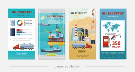 Flat oil industry vertical banners with sea drilling rig tanker ship derrick refinery plant canister barrel gas station tank truck fuel pump illustration