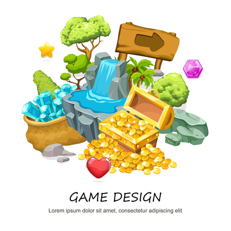 Cartoon game design concept with treasure chest of gold coins waterfall wooden signboard stone trees minerals jewel isolated vector illustration