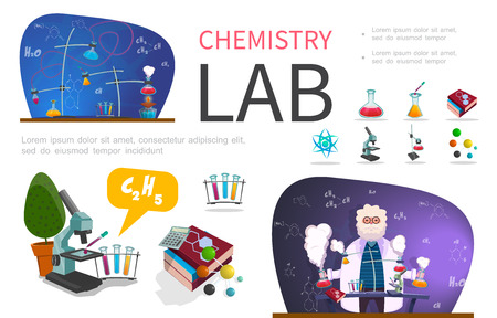 Flat laboratory research infographic template with scientist test flasks atom and molecule structures books microscope chemical formulas vector illustration Stockfoto - 114965703