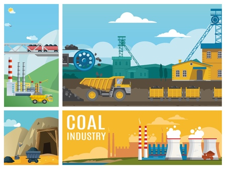 Flat coal industry colorful composition with dump trucks industrial plants chimneys products transportation and mine entrance illustration