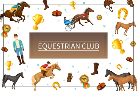 Cartoon equestrian club concept with riders horses brush boot glove cap medal cup horseshoe in frame   illustration Illustration