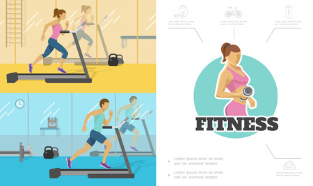 Flat fitness composition with man amd woman running on treadmill in gym athele lifting dumbbell sport icons  illustration