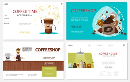 Flat coffee time websites set with barista paper cup milk beans coffee grinder machines turk thermo plate spoon  illustration