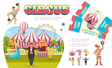 Flat circus elements composition with strongman clown magician tent ferris wheel ticket booth lion seal elephant performing different tricks vector illustration Illustration