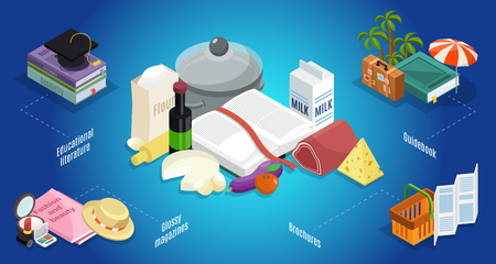 Isometric thematic literature concept with educational and recipe books guidebook trendy glossy magazines brochures isolated vector illustration
