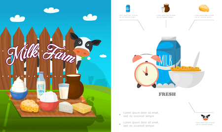 Flat dairy products concept with milk kefir feta cottage cheese butter cream corn flake alarm clock cow vector illustration