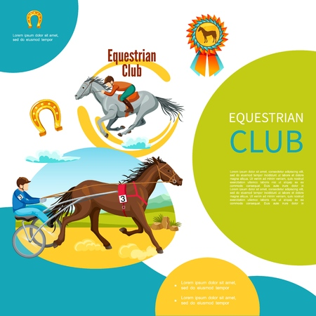 Cartoon equestrian club colorful template with jockeys riding horses horseshoe medal vector illustration Illusztráció