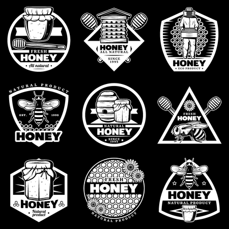 Vintage white honey emblems set with beehive beekeeper bee sticks honeycombs pots on black background isolated vector illustration