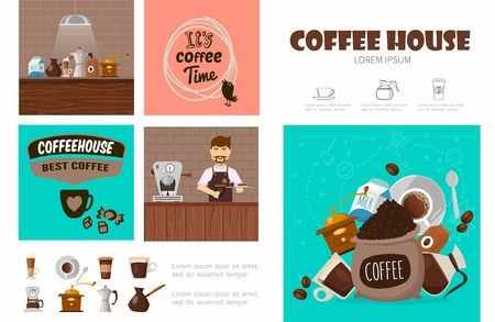Flat coffee shop infographic concept with barista cups of hot drink bag of beans coffee machines grinder milk turk vector illustration