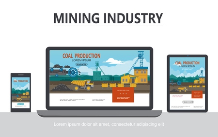 Flat mining industry adaptive design concept with industrial factory bucket wheel dump truck wagons transporting coal on tablet phone laptop screens isolated vector illustration