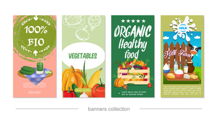 Flat healthy eco food vertical banners with wooden crate of vegetables dairy products cow vector illustration