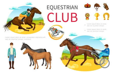 Cartoon equestrian sport elements set with jockey riding horse brush cap leather gloves medal trophy horseshoe vector illustration 일러스트