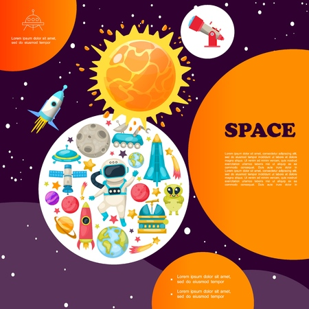 Flat space colorful template with stars telescope rocket spaceship alien moon rover ufo planets satellite planetary meteor astronaut vector illustration